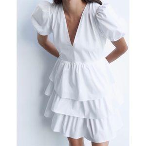 NEW Zara Flounced Ruffle Poplin Mini Summer Dress